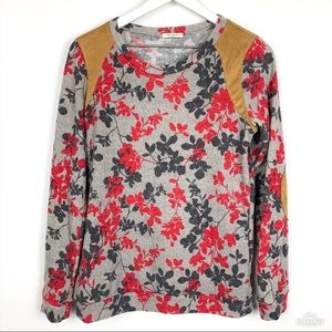 12pm by Mon Ami Floral Sweatshirt w/Elbow Patches